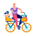 happy family on bike flat active recreation banner vector image