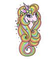 head a rainbow unicorn with a long mane vector image vector image