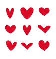 hearts red icon valentine love set vector image vector image