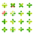 Isolated abstract green color cross logo set vector image vector image
