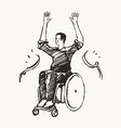 man wheelchair finish line concept victory vector image