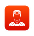 ophthalmologist with head mirror icon digital red vector image vector image
