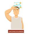 person experiencing unconsciousness and fainting vector image vector image