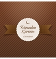 Ramadan Kareem Eid Mubarak Label with Ribbon vector image