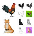 realistic animals cartoonblackflatmonochrome vector image vector image