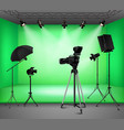 Realistic Green Screen Studio Interior vector image