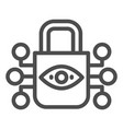 retina scanning lock line icon eye idendification vector image vector image