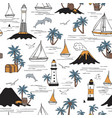 seamless pattern with sailboats and palm trees vector image vector image