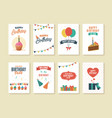 set birthday greeting and invitation cards vector image
