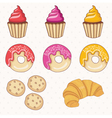 set of donutscakescroissant vector image
