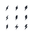 set of the bolts of lightning minimalistic vector image vector image