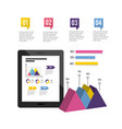 tablet technology with infographic business vector image