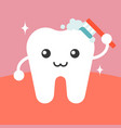 tooth character cleaning itself with toothbrush vector image vector image