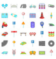 transport on road icons set cartoon style vector image vector image