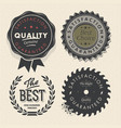 Vintage set premium quality and guarantee labels vector