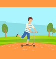 young boy skates on self balancing scooter in park vector image vector image