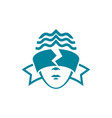 the head of a woman with blindfolded eyes vector image