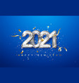 2021 silver metal numerals on a blue background vector image
