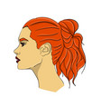 a woman with long red hair in profile hair from vector image vector image