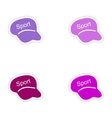 assembly realistic sticker design on paper caps vector image vector image