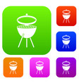 barbecue set color collection vector image vector image