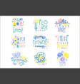 best flower shop set of logo templates hand drawn vector image vector image
