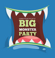 big monster party banner with monster vector image