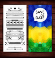 blue yellow and green save date invitation vector image vector image