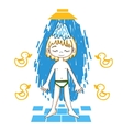Boy takes a shower color drawing vector image vector image