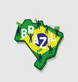 brazil map and soccer or football fans cheering vector image