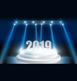 bright stadium lights designhappy new year 2019 vector image