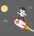 business man riding rocket flying to the moon vector image