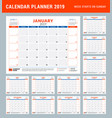 calendar planner stationery design template for vector image vector image