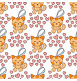cat lovely hearts fashion patch stickers vector image