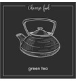 chinese green tea pot chalk sketch for china asian vector image