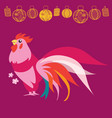 chinese new year pink rooster vector image vector image