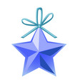 christmas toy in the form of a blue five-pointed vector image vector image