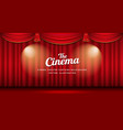 cinema theater curtains red and gold righting vector image