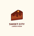 cityscape incorporated into a cake piece sweet vector image