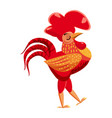 cute cock rooster animal trend cartoon style vector image