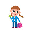 cute little girl with backpack dressed for school vector image