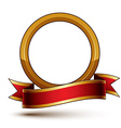 Design golden ring template with red curvy ribbon vector image vector image