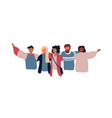 diverse young people friend group hugging vector image vector image