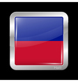 Flag of Haiti Metal Icon Square Shape vector image vector image