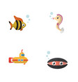 flat icon nature set of scallop seafood vector image vector image