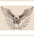 flying eagle laurel wreath emblem vector image vector image