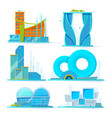futuristic buildings set flat pictures vector image vector image