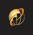 golden globe logo vector image