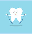happy tooth with dental floss vector image vector image