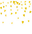 heart frame background with gold glitter hearts vector image